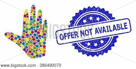 Multicolored Mosaic Hand, And Offer Not Available Textured Rosette Seal. Blue Stamp Contains Offer N