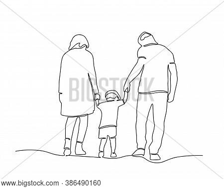Continuous One Line Drawing Of Family Vector, Concept Of Father, Mother, And Son. Parents Help Their