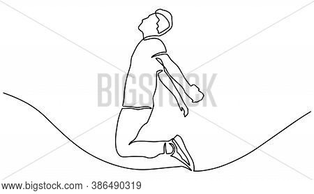 Continuous Line Drawing Of Jumping Man. A Man Jump Looks Happy With Toss Hand Sign. Continuous Line