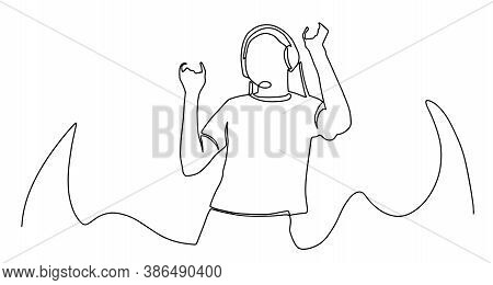 Continuous Single Drawn One Line. Girl Woman Listens To Music With Headphones Hand-drawn Picture Sil