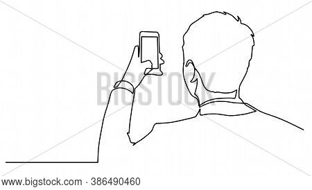 Man Taking Photo With Smartphone One Line Drawing. Side View.man Standing With Smartphone Continuous