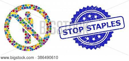 Colored Collage Forbidden Man, And Stop Staples Unclean Rosette Stamp Seal. Blue Stamp Seal Contains