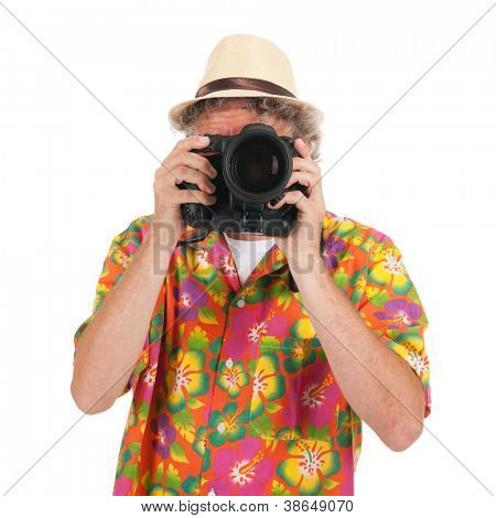 Typical tourist is taking pictures with big camera