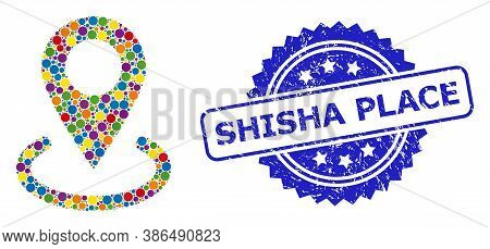 Multicolored Mosaic Location, And Shisha Place Textured Rosette Stamp Seal. Blue Stamp Includes Shis