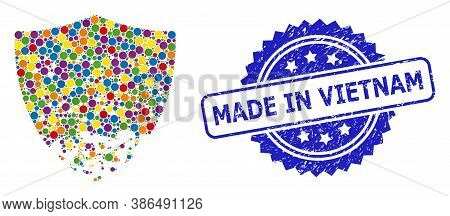 Multicolored Mosaic Damaged Shield, And Made In Vietnam Textured Rosette Stamp Seal. Blue Seal Inclu