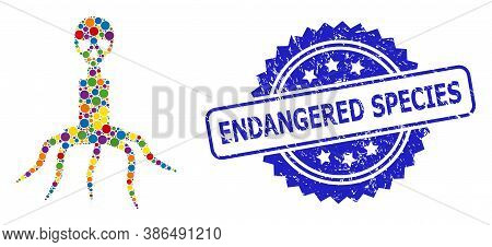 Colorful Mosaic Death Virus, And Endangered Species Rubber Rosette Stamp Seal. Blue Stamp Seal Inclu