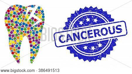 Bright Colored Mosaic Tooth Fracture, And Cancerous Dirty Rosette Stamp. Blue Stamp Includes Cancero