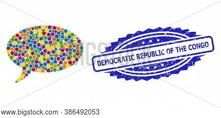 Vibrant Mosaic Message Cloud, And Democratic Republic Of The Congo Grunge Rosette Stamp. Blue Stamp