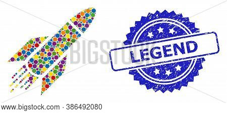 Vibrant Mosaic Rocket, And Legend Textured Rosette Stamp Seal. Blue Stamp Contains Legend Tag Inside