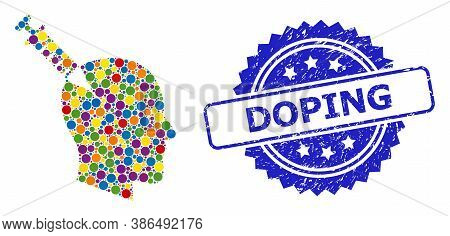 Multicolored Collage Head Injection, And Doping Dirty Rosette Stamp. Blue Stamp Seal Includes Doping