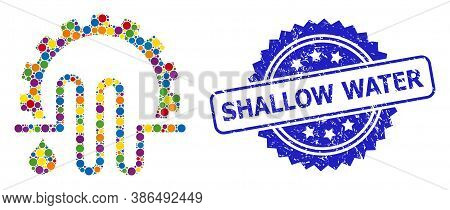 Multicolored Mosaic Water Supply Service, And Shallow Water Scratched Rosette Stamp Seal. Blue Stamp