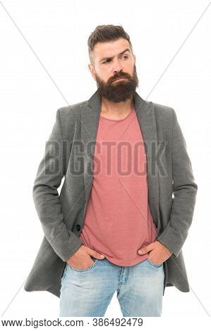 Menswear And Fashion Concept. Tips And Tricks Handsome Man. Attractive And Handsome. Bearded And Han