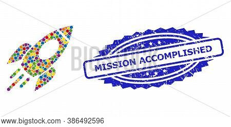 Vibrant Mosaic Space Rocket, And Mission Accomplished Scratched Rosette Stamp Seal. Blue Stamp Conta