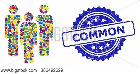 Colorful Mosaic People, And Common Textured Rosette Stamp Seal. Blue Stamp Seal Contains Common Titl