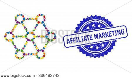 Multicolored Collage Link System, And Affiliate Marketing Grunge Rosette Seal. Blue Stamp Seal Conta