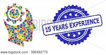 Colored Collage Human Intellect Gear, And 15 Years Experience Dirty Rosette Seal Imitation. Blue Sea