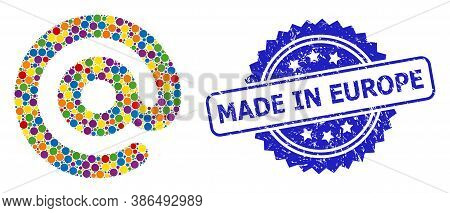 Multicolored Mosaic Email Symbol, And Made In Europe Rubber Rosette Seal. Blue Seal Contains Made In