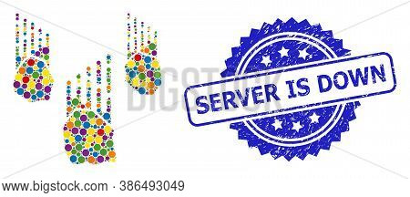 Multicolored Mosaic Falling Rocks, And Server Is Down Textured Rosette Stamp Seal. Blue Stamp Seal I