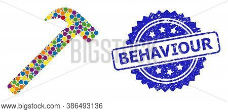 Bright Colored Collage Hammer Tool, And Behaviour Scratched Rosette Stamp Seal. Blue Stamp Seal Has