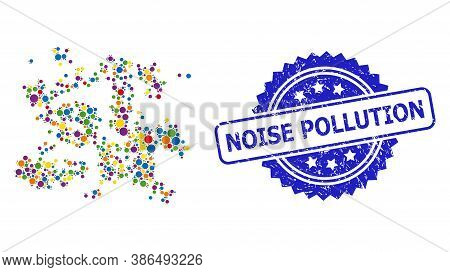 Multicolored Mosaic Particle Swarm, And Noise Pollution Rubber Rosette Seal Imitation. Blue Stamp Se