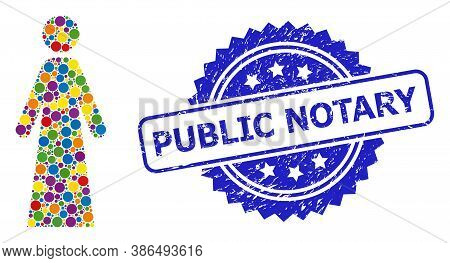 Bright Colored Mosaic Woman, And Public Notary Unclean Rosette Seal Print. Blue Stamp Seal Has Publi