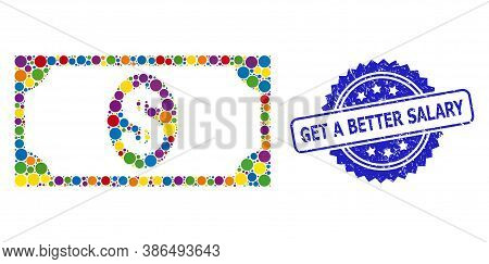 Colorful Mosaic Usd Banknote, And Get A Better Salary Dirty Rosette Seal Imitation. Blue Stamp Seal
