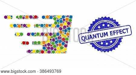 Vibrant Collage Fast Effect, And Quantum Effect Grunge Rosette Stamp. Blue Stamp Contains Quantum Ef