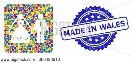 Vibrant Collage Marriage Persons, And Made In Wales Dirty Rosette Stamp Seal. Blue Stamp Seal Contai