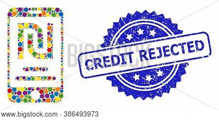 Vibrant Collage Shekel Mobile Account, And Credit Rejected Scratched Rosette Seal. Blue Stamp Seal H