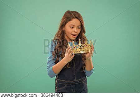 Every Girl Dreaming To Be Princess. Lady Little Princess. Real Values. Kid Hold Golden Crown Symbol