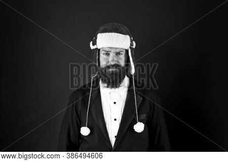 Business Santa Wish You Financial Growth. Man Hipster Style With Beard In Smart Suit And Santa Hat.