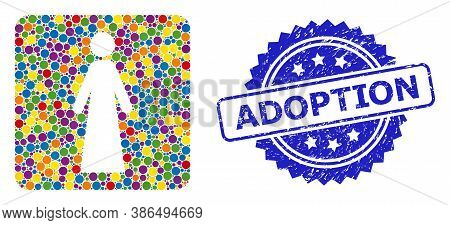 Vibrant Collage Woman, And Adoption Unclean Rosette Stamp Seal. Blue Seal Has Adoption Tag Inside Ro