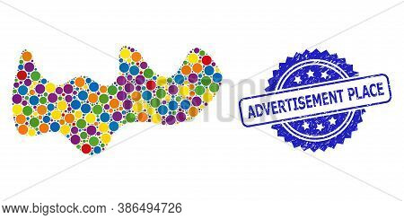 Multicolored Mosaic Spot, And Advertisement Place Corroded Rosette Stamp Seal. Blue Stamp Seal Conta