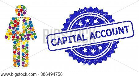 Bright Colored Collage Groom, And Capital Account Corroded Rosette Stamp Seal. Blue Stamp Seal Conta