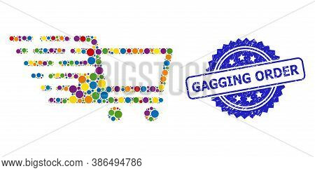 Multicolored Mosaic Shopping Cart, And Gagging Order Textured Rosette Seal. Blue Seal Has Gagging Or