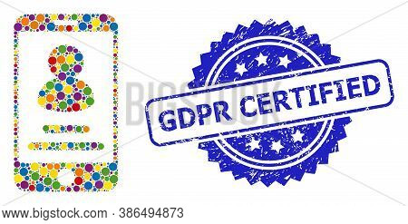 Vibrant Collage Smartphone User Info, And Gdpr Certified Dirty Rosette Seal Print. Blue Stamp Seal H