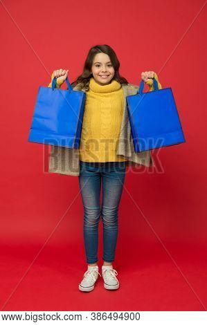 Bargain Sale. Happy Child Holding Shopping Packages, Copy Space. Special Offer Here. Teen Girl Buy G
