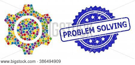 Colorful Collage Gear, And Problem Solving Unclean Rosette Seal Print. Blue Seal Has Problem Solving
