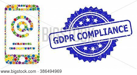 Colorful Collage Smartphone Address Info, And Gdpr Compliance Rubber Rosette Stamp Seal. Blue Stamp
