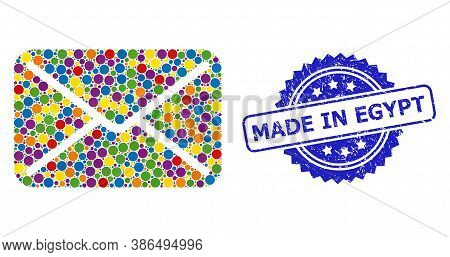 Colorful Mosaic Mail, And Made In Egypt Rubber Rosette Stamp Seal. Blue Stamp Contains Made In Egypt