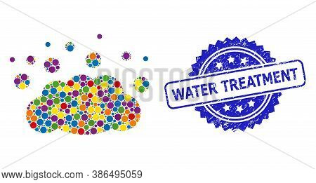 Colorful Mosaic Cloud Emission, And Water Treatment Unclean Rosette Stamp. Blue Stamp Seal Includes