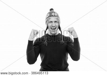 Best Wishes. Guy Wear Winter Hat. Merry Christmas And Happy New Year. Winter Vacation. Mature Man In
