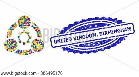 Colorful Collage Industrial Collaboration, And United Kingdom, Birmingham Grunge Rosette Seal. Blue