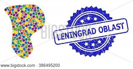 Multicolored Collage Spot, And Leningrad Oblast Unclean Rosette Seal Print. Blue Seal Contains Lenin