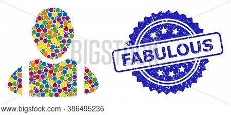 Multicolored Collage Worker, And Fabulous Grunge Rosette Stamp Seal. Blue Stamp Seal Has Fabulous Ti