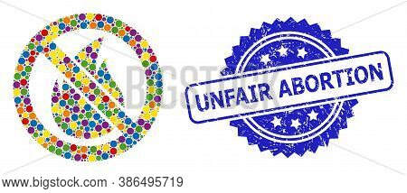 Vibrant Mosaic Forbidden Fire, And Unfair Abortion Dirty Rosette Stamp Seal. Blue Stamp Seal Has Unf