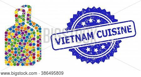 Colored Collage Cutting Boards, And Vietnam Cuisine Textured Rosette Seal. Blue Seal Contains Vietna