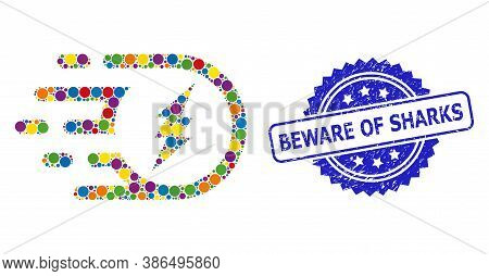 Vibrant Mosaic Electric Participle, And Beware Of Sharks Rubber Rosette Stamp Seal. Blue Stamp Inclu