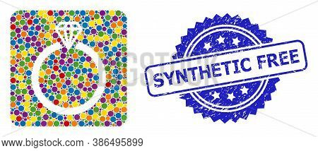 Multicolored Collage Diamond Ring, And Synthetic Free Grunge Rosette Stamp Seal. Blue Stamp Seal Has
