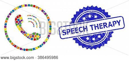 Colorful Collage Telephone Call, And Speech Therapy Grunge Rosette Seal Print. Blue Stamp Seal Inclu